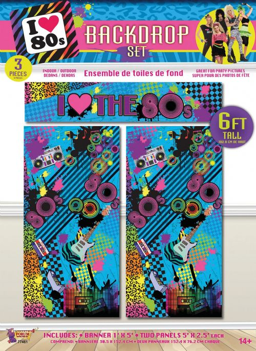 80s Backdrop Set 6ft/3pc 80s Disco Pop Retro Party Favour